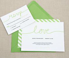 Modern green  #wedding invitations & stationery ... Wedding ideas for brides, grooms, parents & planners ... https://itunes.apple.com/us/app/the-gold-wedding-planner/id498112599?ls=1=8 … plus how to organise an entire wedding ♥ The Gold Wedding Planner iPhone App ♥