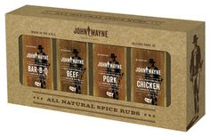 On the way to the Chicken House too!   Take Your Hat Off and Eat Well. After a hard day's work, Duke liked nothing better than to sit down to a great meal with family and friends. These All Natural seasonings are made in the U.S.A. from the highest quality ingredients. Set includes 4, 7oz. rubs: Pork, Chicken, Beef, BBQ. Brush meat with olive oil, season generously with rub and allow meat to rest in refrigerator for one hour or overnight. Grill, roast, or smoke to your liking.