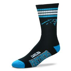 Carolina Panthers For Bare Feet 4-Stripe Deuce Team Color Performance Crew  Socks 22f0ba1db