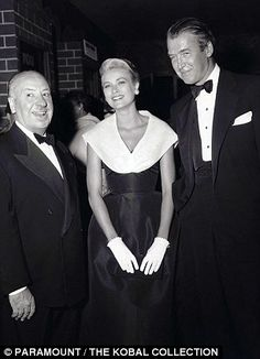 Grace Kelly, James Stewart and Alfred Hitchcock at the premiere of Rear Window.