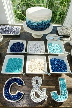 Adorable blue wedding dessert idea; Featured Photographer: Hamilton Photography