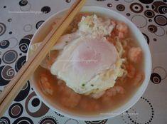 Receitas da Romy: Noodles de camarão com cogumelos e ovo