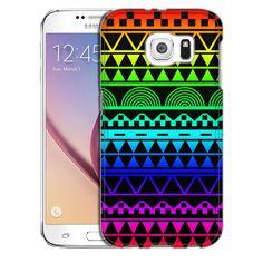 Samsung Galaxy S6 Aztec Rainbow on Black Slim Case