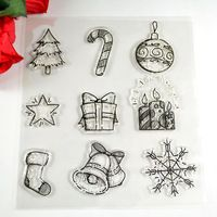 Coolhoo 1pc TPR silicon clear Stamp Christmas elements jingle bell snow DIY Scrapbooking/Card Making/ Decoration Supplies