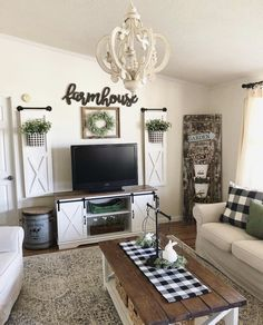 43 amazing farmhouse living room sofa design ideas and decor 12 Living Room Sofa Design, Living Room Tv, Living Room Designs, Apartment Living, Living Spaces, Living Area, Farmhouse Wall Decor, Rustic Farmhouse, Farmhouse Style