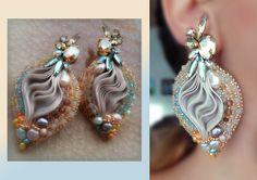 EARRINGS by Serena Di Mercione - Pearl, swarovski, shibori silk