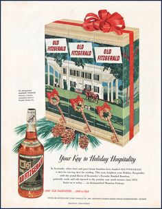 Old Fitzgerald Bourbon Vintage Ad from 1951- Old Christmas Ad, Old Liquor Ads, Old Christmas Ads, bar decor, holiday bar wall decor
