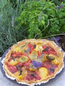Tarte au thon et aux tomates anciennes
