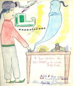 """Cartell il·lustrat per Miguel Selas i F. Jimenez, per informar de l'hora del conte programada pel dia 6 de març de 1965 en la biblioteca Pare Miquel d'Esplugues. El títol de la narració fou: """"Aladino y la lámpara maravillosa"""" i """"La cueva de Ali- Baba"""""""