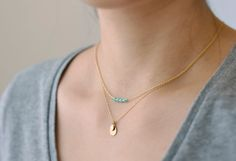 Icing tiny turquoise beads delicate 14k gold filled chain by edor