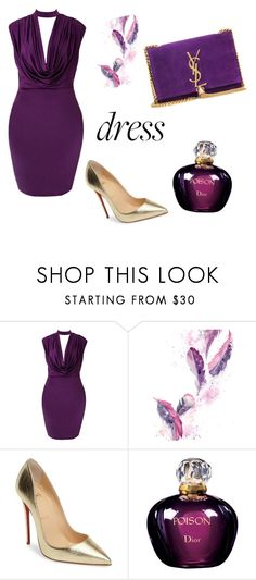 """""""poison purple"""" by yurikasigit-yms ❤ liked on Polyvore featuring Christian Louboutin, Christian Dior and Yves Saint Laurent"""