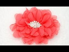 How to make fabric flower, Tutorial, DIY, Chiffon flower - YouTube