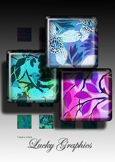 Neon Ornament - Digital Collage Sheet 1x1 inch square Printable Images for resin jewellery pendants scrapbook 167 $2.50