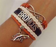 BRONCOS Bracelet Denver Broncos bracelet Football by SummerWishes