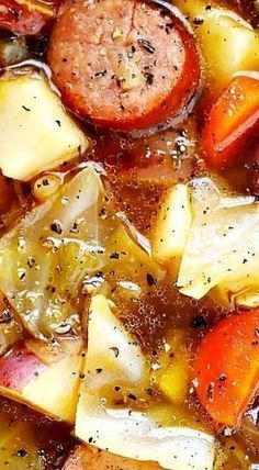 Cabbage, Sausage and Potato Soup | Posted By: DebbieNet.com Cabbage And Potato Soup, Cabbage Stew, Crockpot Cabbage Soup, Kielbasa And Cabbage, Stuff Cabbage Soup, Cabbage Meals, Cabbage Soup Sausage, Crockpot Sausage And Potatoes, Olive Garden Sausage Soup
