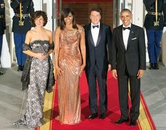 Agnese Landini, First Lady Michelle Obama, Italian Prime Minister Matteo Renzi and President Barack Obama enter the White House for the State Dinner on October 18, 2016 in Washington, DC.