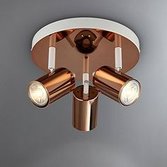Beautifully crafted with three adjustable lights, this contemporary spotlight features an on-trend, modern finishes in an elegant copper plated and painted matt. Flush Lighting, Kitchen Lighting, Pendant Lighting, Boardroom Furniture, Copper Decor, Ceiling Spotlights, Wall Lights, Ceiling Lights, Flat Ideas