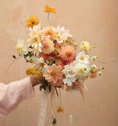 bouquet of peaches, yellow, and white My Flower, Beautiful Flowers, Floral Wedding, Wedding Flowers, Dahlia Wedding Bouquets, Gift Flowers, Dried Flower Bouquet, Spring Bouquet, Dried Flowers