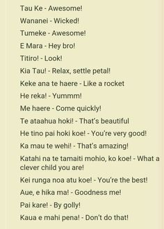 Te reo to use in classroom