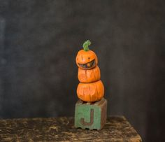 Jack o lantern pumpkin Halloween Mini Figure folk by triesteprusso