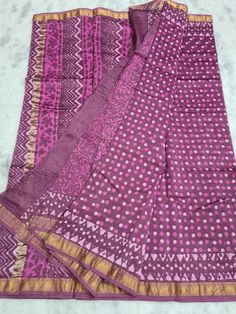 Price Rs 2145 + Shipping extra Beautiful hand block printed Maheshwari silk sarees With blouse