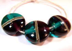 Purple and Teal Tabs    Handmade Lampwork Glass by VedasBeads, $15.00