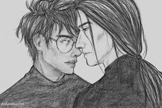 """onecolorgirl: """" potionsmasters: """"just a breath away """" So beautiful. I wish I could draw like that… """" Snape Harry, Severus Snape, Harry Potter Artwork, Voldemort, Drarry, American Horror Story, Fantastic Beasts, Animals And Pets, Beautiful"""