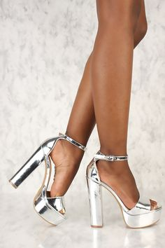 592203af9bd Sexy Silver Open Toe Platform Pump Chunky High Heels Metallic Faux Leather