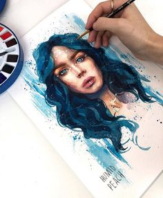 Watercolor painting by Humid Peach. Humid Peach is the name of the artist whose real name is Ksenia Kondyleva. Continue Reading and for more watercolor art → View Website Art Drawings Sketches, Cool Drawings, Watercolor Portraits, Watercolor Paintings, Watercolour, Art Et Design, Arte Sketchbook, Portrait Art, Love Art