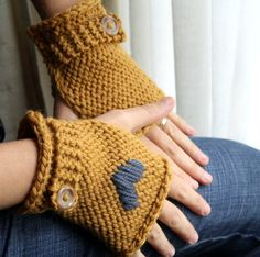 Fingerless Mitts - Mustard Yellow