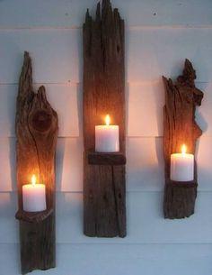natural wood wall candle shelf