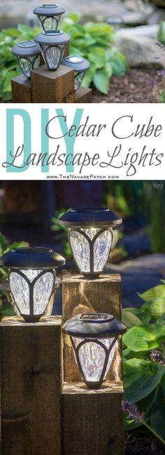 Diy cedar cube landscape lights diy solar outdoor lights ran Diy Solar, Solar Light Crafts, Solar Lights, Backyard Lighting, Outdoor Lighting, Outdoor Decor, Lighting Ideas, Rustic Outdoor, Outdoor Ideas