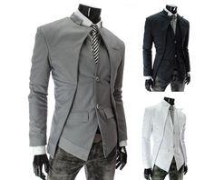Mens Black/Gray/White Slim Fit Blazer Jacket 84435
