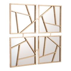 Four Faces Mirror Gold - Zuo Modern modern wall panels in a graphic pattern are stunning placed together above a console table, mantle or on an open wall space. Turn them in different directions to create an interesting design. Wall Patterns, Graphic Patterns, Modern Wall Paneling, Gold Walls, Steel Wall, Wood Steel, Frames On Wall, Framed Wall, Framed Mirrors
