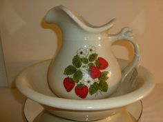 mccoy pottery with strawberries | 2pc strawberry pitcher & bowl set-1980's-McCoy pottery