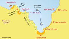 Carte des plages de Saint Florent en Corse