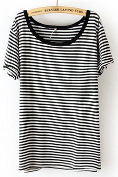 Black White Striped Short Sleeve Slim T-Shirt #SheInside