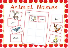 Animal Names Activity to Practice using Phase 3 digraphs. Available on EpicPhonics.com