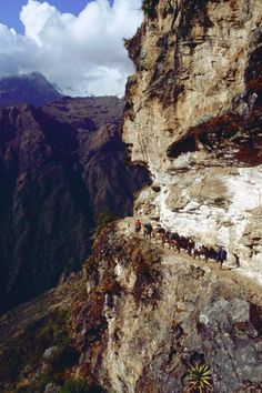 Section of the trail from Choquequirao to Machu Picchu after crossing ...