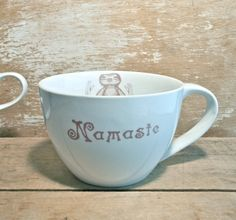 Namaste Baby Sloths Large Tea or Soup Cup by SecondChanceCeramics