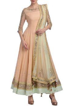 Eid Ramdaan Special Indian Traditional Peach Neckline Embroidery Anarkali Dress #FatimaBi #AnarkaliKameez