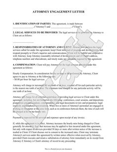 attorney engagement letter for law firm client engagement lawyer client