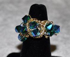 Sterling Gold Swarovski Peacock Ring