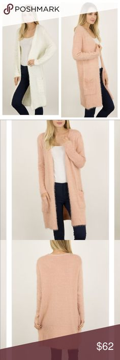 ✨CM Sale $43✨Ivory Fuzzy Dream Cardigan I love all soft fuzzy things this time of year! How soft can soft get.. This soft fuzzy cardigan will be the perfect addition for you ladies!  In a longer length, w/ pockets, soft NOT itchy .... Available in blush, ivory, & black.  DOES NOT SHED   Note: True to size measurements will follow Desired Collection Sweaters Cardigans