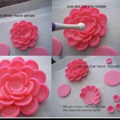 Polymer clay tutorial, but I think I could use fondant.never thought of making a fondant flower out of circle i would like to try this soon. Shawna flower tutorial by Corrie Cakes photo tutorial for three types of flowers. Could work with fondant for Fondant Flower Tutorial, Fondant Flowers, Sugar Flowers, Cake Tutorial, Photo Tutorial, Fondant Rose, Fondant Baby, Pink Flowers, Rose Icing