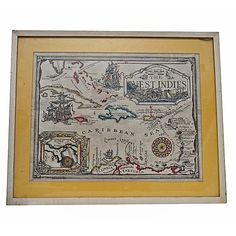 Hand painted West Indies nautical map