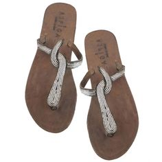 Snake Silver Thong Sandals