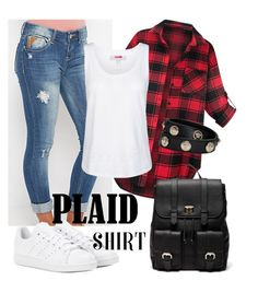 """Plaid shirt"" by keila-87 on Polyvore featuring moda, adidas, Sole Society e Versace"