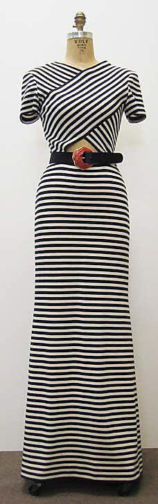 Striped maxi dress | vintage | Dress  Oscar de la Renta, Ltd.  (American, founded 1965)