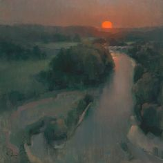 """""""Summer Sun Over the Illinois"""" by John Porter Lasater IV of Siloam Springs, Arkansas - LPAPA's """"Artist Member of the Month"""" for January Paintings I Love, Love Painting, Light Painting, Beautiful Paintings, Painting & Drawing, Oil Paintings, Nocturne, Landscape Art, Landscape Paintings"""